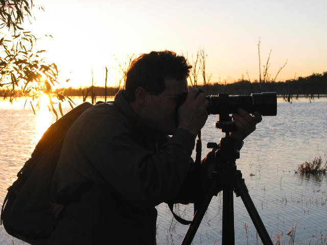 The blogger doing what he enjoys most, messing about with cameras at somewhere like Lake Nuga Nuga. About 2003, with my trusty old Nikon F4 and 300mm mf lens.
