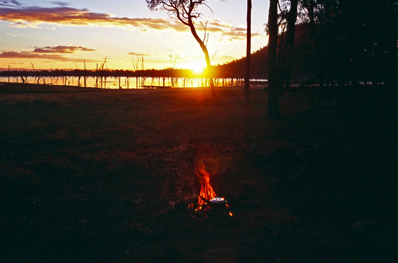 Boiling the billy on sunset, lake Nuga Nuga. Photo courtesy Bernice Sigley.