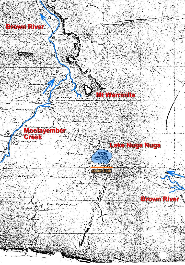 Vernon Brown's map of Lake Nuga Nuga