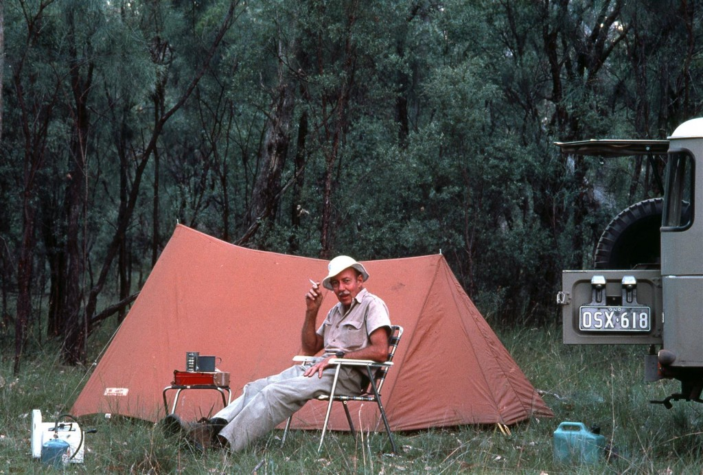 Bill Morley camping in Lethbridges Pocket, Mount Moffatt, before NP declaration, Jan 1979.