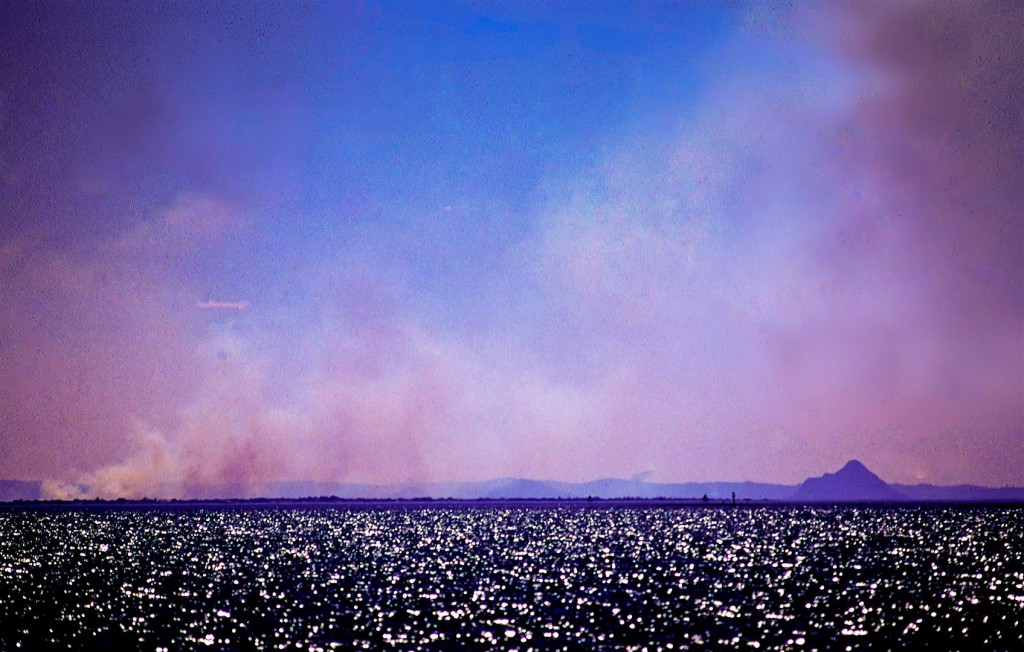 Bushfires cloak the Glasshouse Mountains, at the northern end of Moreton Bay.